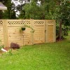 6' tall horizontal picket fence with gate and lattice