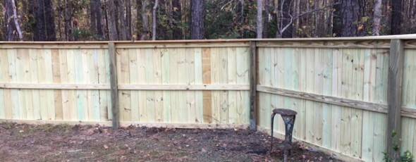 5′  privacy wood fence with trim
