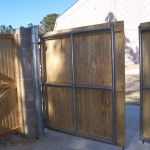 Metal Frame Wood Gate - Commercial Fence