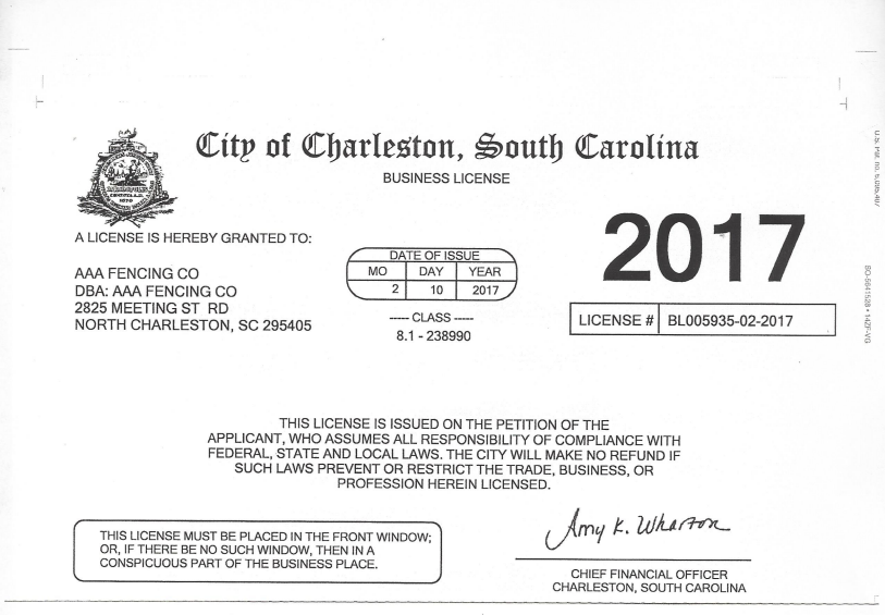 Charleston Buusiness License